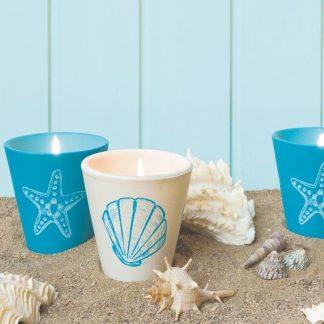 bougie pot en terre cuite blanc bleu motif marin océan 80x82mm citronnelle insecticide pour extérieur