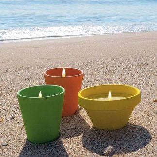 bougie pot en terre cuite caribe 80x82mm citronnelle insecticide pour l'extérieur