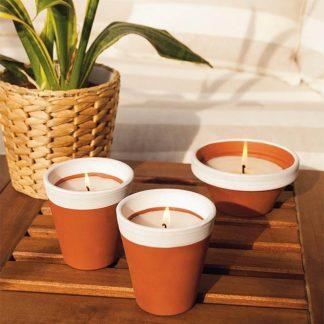 bougie pot en terre cuite white 80x82mm jasmin insecticide pour extérieur