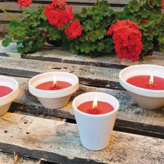 bougie pot vasque en terre cuite blanc géranium 80x82mm insecticide pour l'extérieur