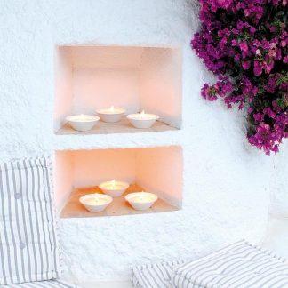 bougie pot vasque en terre cuite blanc terracotta blanche 55x120mm citronnelle pour extérieur