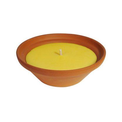 bougie pot vasque en terre cuite terracotta natural 55x120mm citronnelle pour extérieur