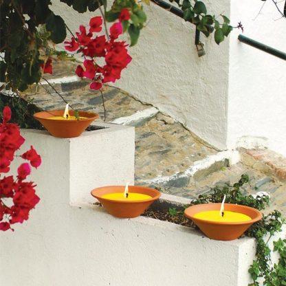bougie pot vasque en terre cuite terracotta natural 55x120mm citronnelle pour extérieur ambiance